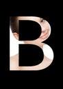 B letter beauty makeup girl creative fashion font