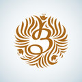 B letter monogram. Boutique Luxury Vintage, Crests logo. Business sign, identity for Restaurant and Royalty.
