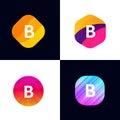 B letter vector company icon signs flat symbols logo set