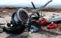 B a superfortress wreckage bleaklow moor crashed in on it s way from raf scampton to usaf burtonwood the has been left there as Stock Image