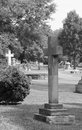 B w cross in the cemetery image of a large granite black and white a Royalty Free Stock Image