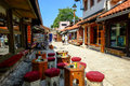 Baščaršija market in sarajevo coffee and tea bar the famous bosnia and herzegovina Royalty Free Stock Image