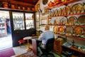 Baščaršija market in sarajevo copper craftsman while working his workshop the famous bosnia and herzegovina Royalty Free Stock Images