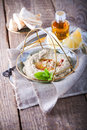 Baba ghanoush, eggplant dip, mediterranean food. Royalty Free Stock Photo