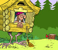 Baba yaga the illustration shows a fabulous hut on chicken legs with in a forest illustration done in cartoon style the format eps Royalty Free Stock Photography