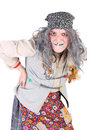 Baba yaga young actor in the costume of closeup Royalty Free Stock Photos