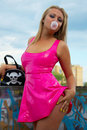 Babe in pink latex Royalty Free Stock Images