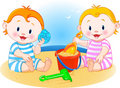 Babies at the beach Royalty Free Stock Photography