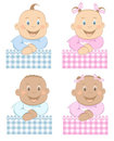 Babies boy and girl mascot set 3 Royalty Free Stock Images
