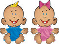 Babies the boy and the girl sit on priests Royalty Free Stock Photo