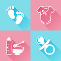 Babies colorful flat icons set of about baby goods Royalty Free Stock Photos