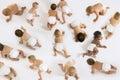 Babies crawling on white background group of multiethnic isolated Stock Image