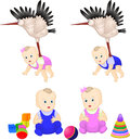 Babies cute kids toys vector illyustatsiya Stock Photography