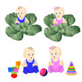 Babies cute kids toys vector illyustatsiya Stock Images