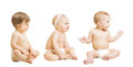 Babies in diapers sit over white kids toddlers sitting boys an and girls one year old Stock Photos
