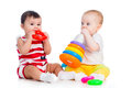 Babies girls playing toy together Stock Photography
