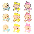 Babies are going forward gear. Home and Family Character Design Royalty Free Stock Photography