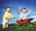 Babies Toddlers Enjoyment Fun Playing Concept Royalty Free Stock Photo