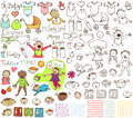Babies and Toddlers Hand Drawn Collection Royalty Free Stock Photo