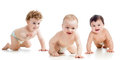 Babies wearing diaper crawling on floor Royalty Free Stock Photo