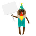 Baboon clown with banner illustration of a on a white background Royalty Free Stock Photo
