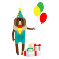 Baboon clown with gifts illustration of a on a white background Stock Images