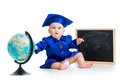 Baby academic with globe and chalkboard in academician clothes Royalty Free Stock Photography