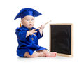 Baby academic with pointer and chalkboard girl in academician clothes Royalty Free Stock Photography