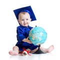 Baby in academician clothes with globe isolated Royalty Free Stock Photo