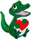 Baby alligator with a loving heart Royalty Free Stock Photography