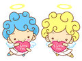 Baby angel character is holding a big heart angel character des design series Royalty Free Stock Photo