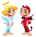 Baby Angel and Devil. Stock Photos