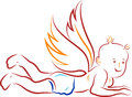 Baby angel praying illustration art of a with background Stock Images