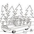 Baby animal and car coloring for kids animals ride in the Stock Photo