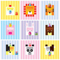 Baby animal card collection Royalty Free Stock Photos