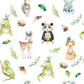 Baby animals nursery isolated seamless pattern. Watercolor boho tropical drawing, child tropical drawing, panda, cute