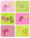 Baby Animals Set of Cards Royalty Free Stock Photo