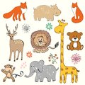 Baby animals set of wild hand drawn illustration Stock Images