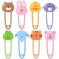 Baby animamls safety pins set 1 Stock Photo