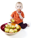 Baby with apples Royalty Free Stock Image