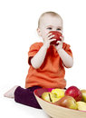 Baby with apples Stock Photography