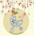 Baby Arrival Card with Birds and Stroller Royalty Free Stock Images