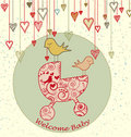 Baby Arrival Card with Birds and Stroller Stock Photo