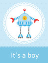 Baby arrival card with cute little robot Royalty Free Stock Image