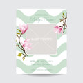 Baby arrival card with photo frame blossom magnolia flowers theme in vector Stock Images
