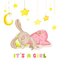 Baby Arrival Card - Sleeping Baby Bunny