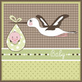 Baby arrival card with stork Stock Photo