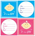 Baby arrival cards Stock Images