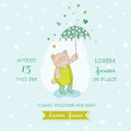 Baby arrival or shower card bear with umbrella illustration in vector Royalty Free Stock Images