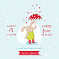 Baby arrival or shower card bunny with umbrella illustration in vector Royalty Free Stock Image